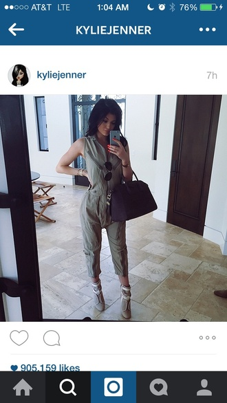 bag kylie jenner shoes jumpsuit clubwear style sexy dress green dress army green jacket jumper kylie jenner jewelry black