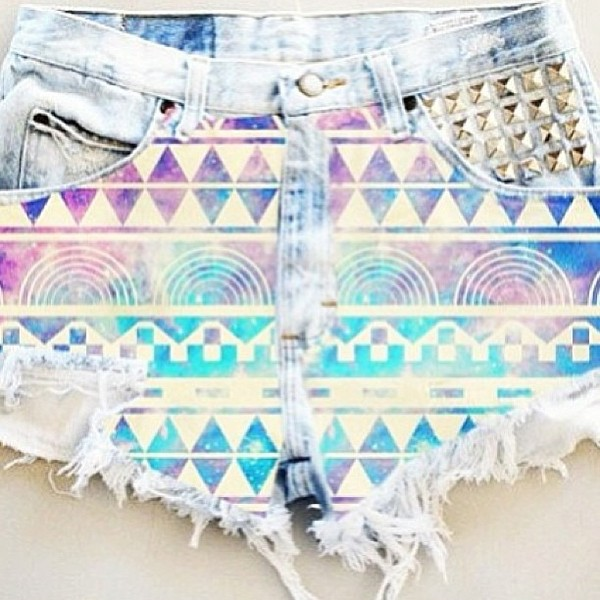 shorts aztec colorful color/pattern bright pretty denim