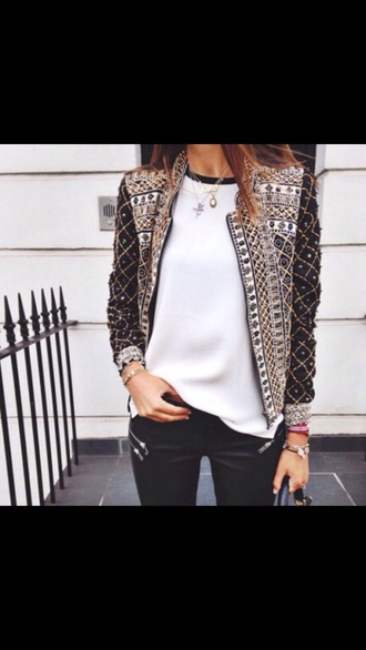 jacket pattern aztec black jacket fashion love gorgeous long sleeves blazer