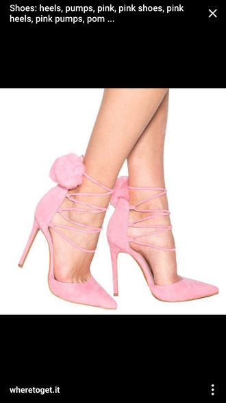 shoes pink heels pumps pom