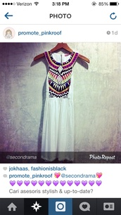 dress,aztec white dress