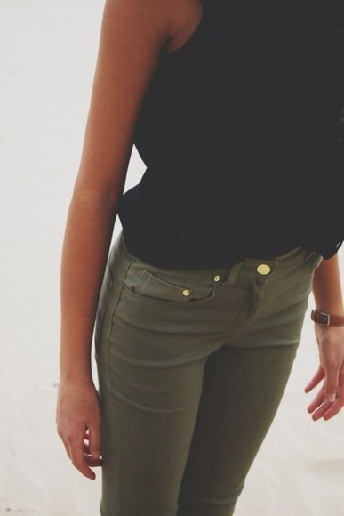 pants army green skinny pants jeans olive green jeans