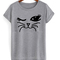 Winking cat fun popular cat lover graphic feline tee shirt