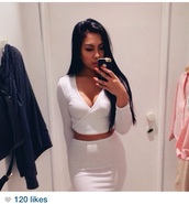 top,white,skirt,american apparel,crop