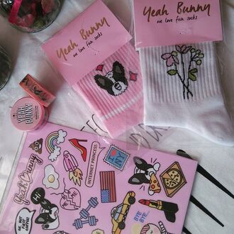 home accessory yeah bunny pink stickers cute accessories