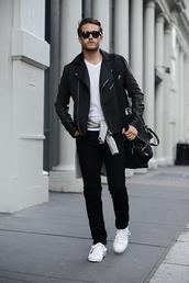 i am galla,blogger,menswear,mens leather jacket,casual,black and white,mens t-shirt,mens pants,black pants