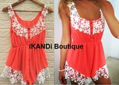 romper,jumpsuit,onesie,coral,lace,crochet,holiday outfit,summer,trendy,stylish,style,holidays,crochet hem,cute,pink,casual,beach