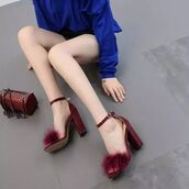 shoes,shanghai trends,furry sandals,sexy sandals,strappy heels,ankle strap heels,suede sandals,sandals,high heel sandals,sandal heels,faux suede and fur,burgundy,aw17,black,burgundy sandals
