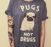 skirt,clothes,pugs,blue,t-shirt,heart,sisters,love,tattoo,quote on it,dog,shirt,drugs,top,not,cute