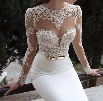 dress white dress white wedding dress prom dress prom evening dress nude mesh floral skin girl prom gown gown lace dress