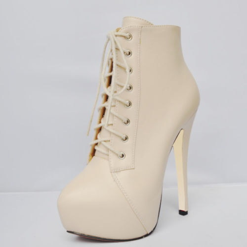 LOSLANDIFEN HIGH HEEL LACE UP PLATFORM STILETTO ANKLE BOOTS PU MATT SHOES 819-1 | eBay