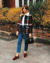 coat,checkered,wool coat,white t-shirt,jeans,flats,suede,handbag