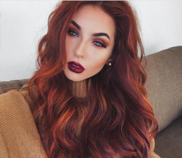 Chestnut brown hair with auburn highlights