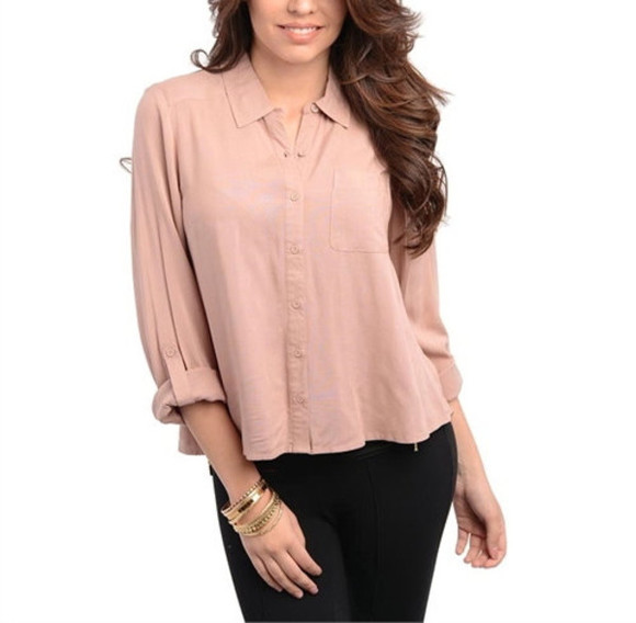 blouse button up blouse mauve top mauve blouse blush top rolled sleeve