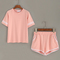 Pink striped trim top with contrast trim pockets shorts -shein(sheinside)