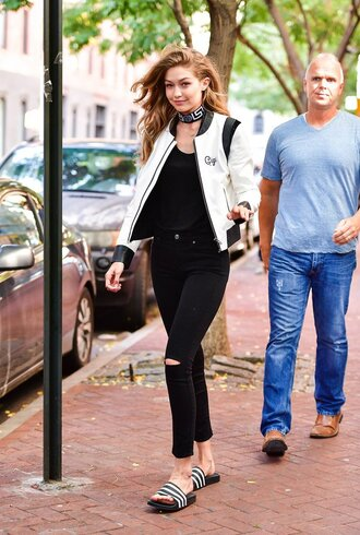 jacket black and white gigi hadid slide shoes top jeans model off-duty streetstyle
