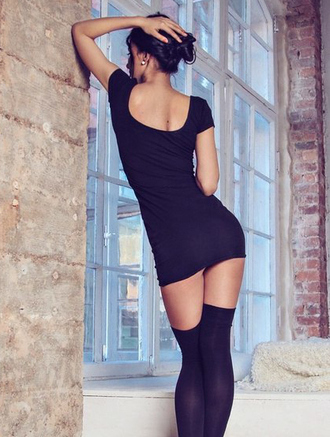 dress black little black dress stockings fashion sexy trendy short dress mini dress