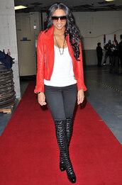 jacket,ciara,red leather jacket,leggings,knee high boots,red caret,glamur,shoes,celebrity