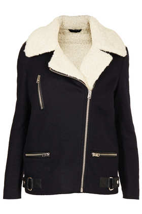 Wool Biker Jacket - Jackets & Coats  - Clothing  - Topshop