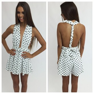 romper spots spotty spotty playsuit spotty romper black spots white with black spots peppermayo