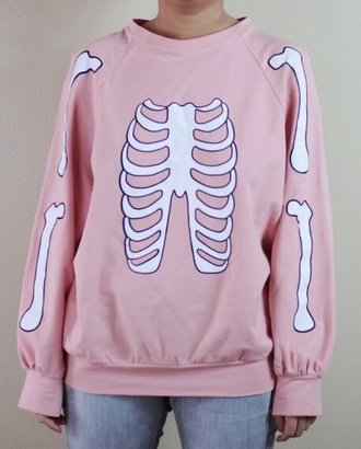 sweater pink shirt skeleton kawaii shirt