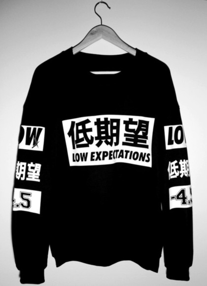 sweater shirt black black and white crewneck low expectations printed sweater