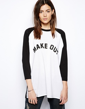 ASOS | ASOS Oversized Baseball Top with Make Out Print at ASOS