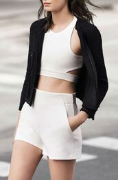 top,ootd,style,minimalist,crop tops,white,ootdfash,tumblr outfit,beautiful,minimalist fashion,mini shorts,fashion,fashionista,cool,cut out crop top,white crop tops,black and white,spring,spring outfits,cut-out