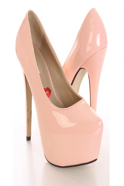 d8e75ceb306d Light Pink Patent Platform Pump Heels   Amiclubwear Heel Shoes online store  sales Stiletto Heel Shoes