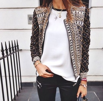 jacket black and gold black white jeans clothes fashion beautiful jewelry outfit style cute coat white jacket coat gold