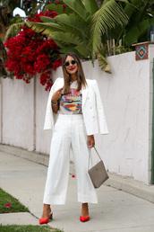 jacket,blazer,white blazer,pants,wide-leg pants,white pants,top,white top,bag,shoes,sunglasses