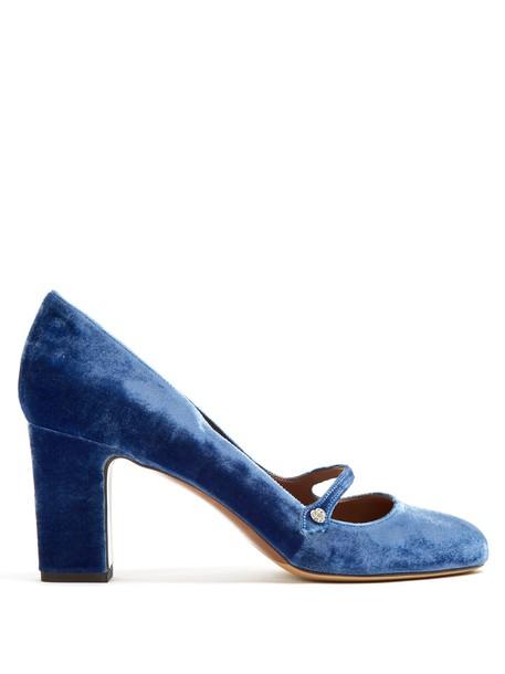 tabitha simmons pumps velvet blue shoes