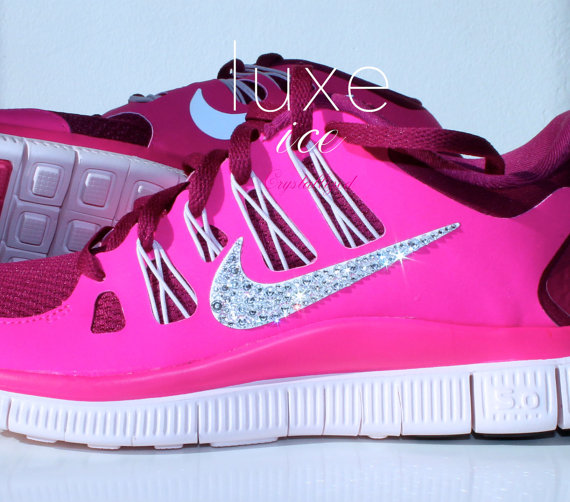 Nike run free 5.0 running shoes w/swarovski crystals por luxeice