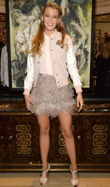 skirt feathers feather skirt blake lively sandals blouse jacket nude