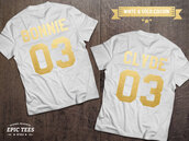 t-shirt,couple,couple shirts,couple matching,bonnie and clyde,matching couples,matching shirts,etsy,number