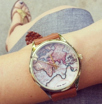 clothes jewels summer outfits girly cute vintage watch watch map of the world watch belle beauty beauty and the beast disney
