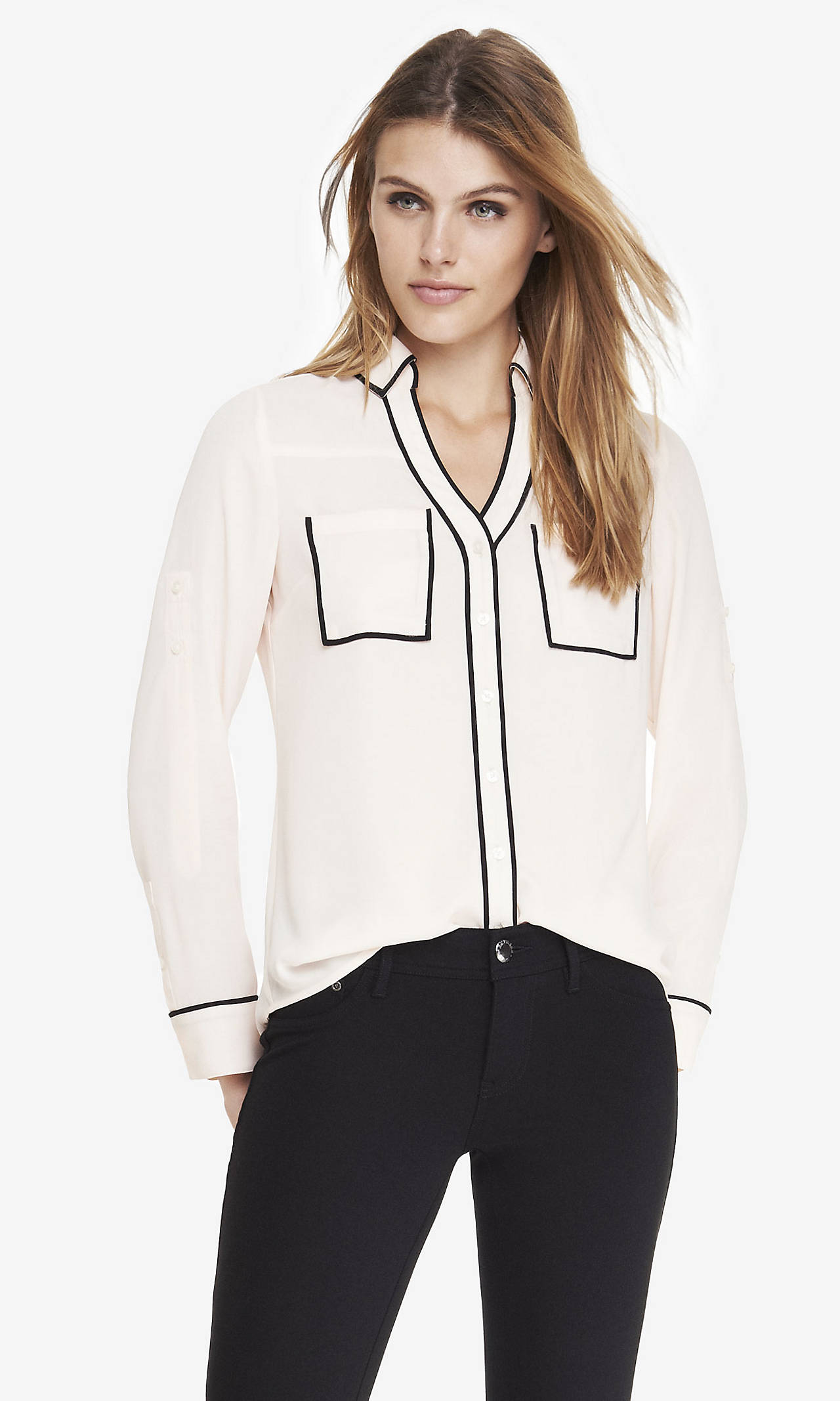 Contrast piping portofino shirt from express