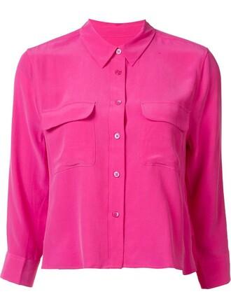 shirt cropped shirt cropped women silk purple pink top