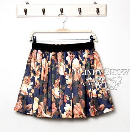 3050 Sexy Lady European Retro Floral Printing Pleated High Waist Skirt Dress | eBay