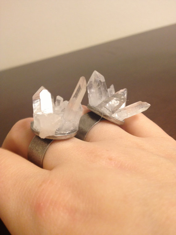 Raw quartz crystal explosion ring by ziggylee on etsy
