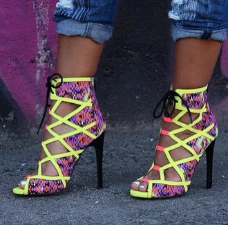 shoes high heels neon snake skin outgoing medium heels