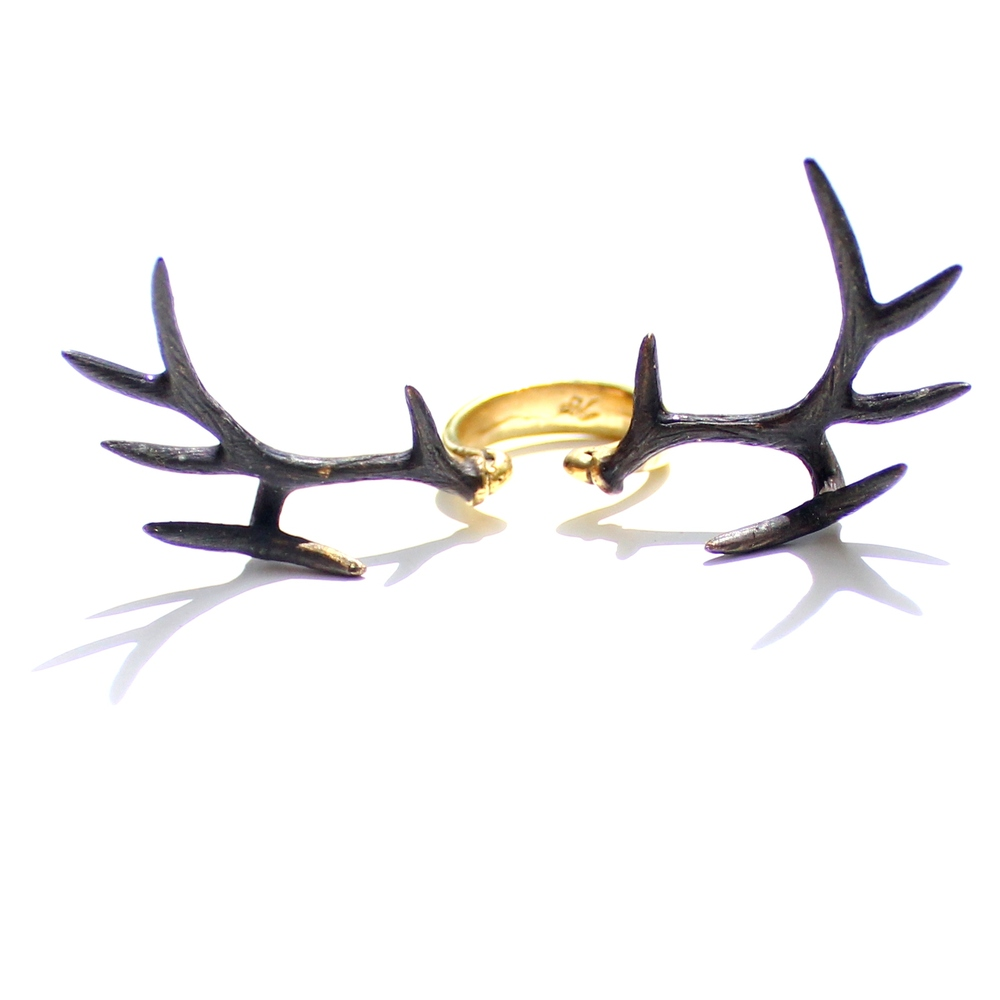 Antlers Ring - Stag Deer Brass Statement Three Finger Jewelry | eBay