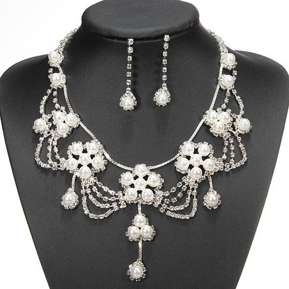 pearl jewels necklace banggood rhinestone flower crystal earrings jewelry set