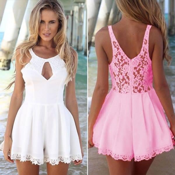 jumpsuit clothes wheretogetit~ white dress pink pink dress lace dress summer outfits cute bag dress