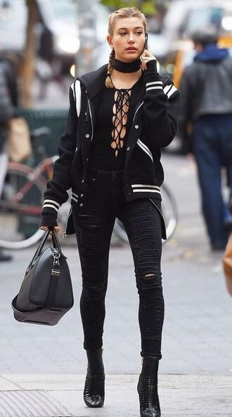 top jacket baseball jacket hailey baldwin jeans ripped jeans boots ankle boots fall outfits streetstyle shoes cute black and white black jacket