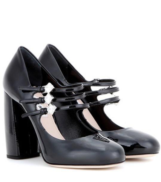 Miu Miu embellished pumps leather black shoes