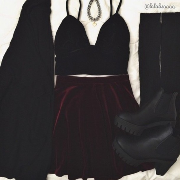 shoes matte clothes boots skirt crop tops velvet skirt