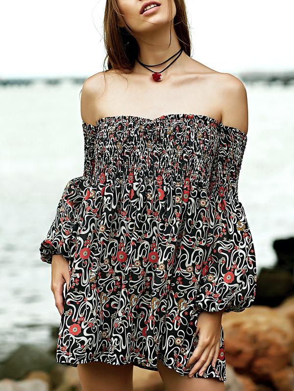 dress off the shoulder fashion style pattern cute beach summer dressfo