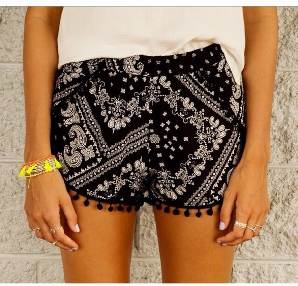 shorts black shorts pattern pompoms