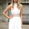 Off-white day dress - ivory turtle-neck dress with cut-out | ustrendy